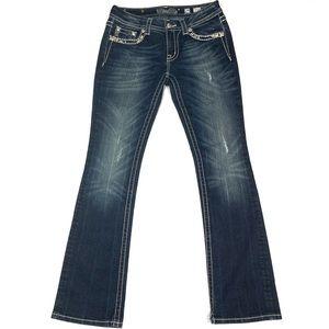 Miss Me Slim Boot Cut Jeweled Medium Rise Jeans